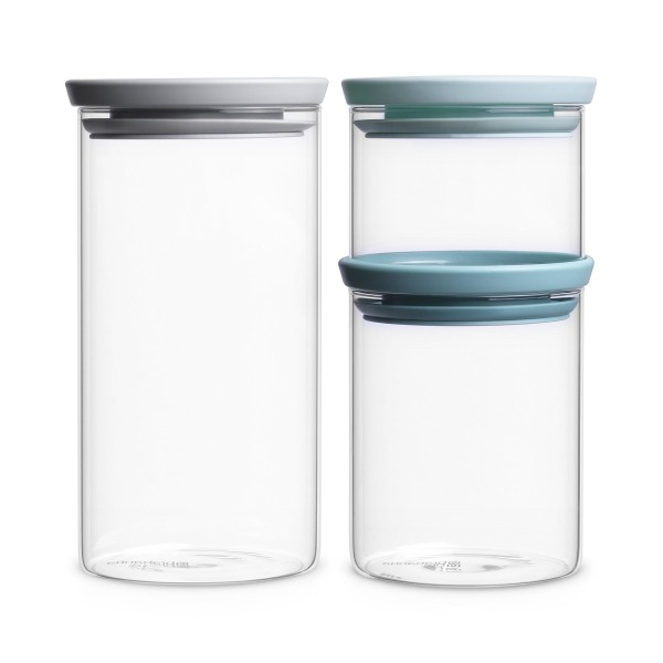 Brabantia Glass Stackable Jars, Set of 3