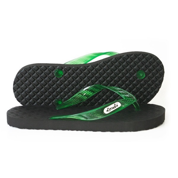 Locals Black with Green Strap Slipper