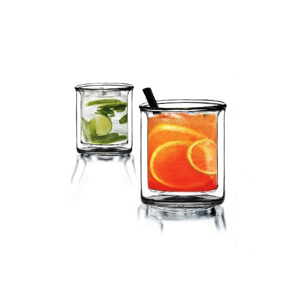 Sun's Tea 9 oz Strong Double Wall Manhattan Style old-fashioned Scotch/Whiskey Glasses, Set of 2