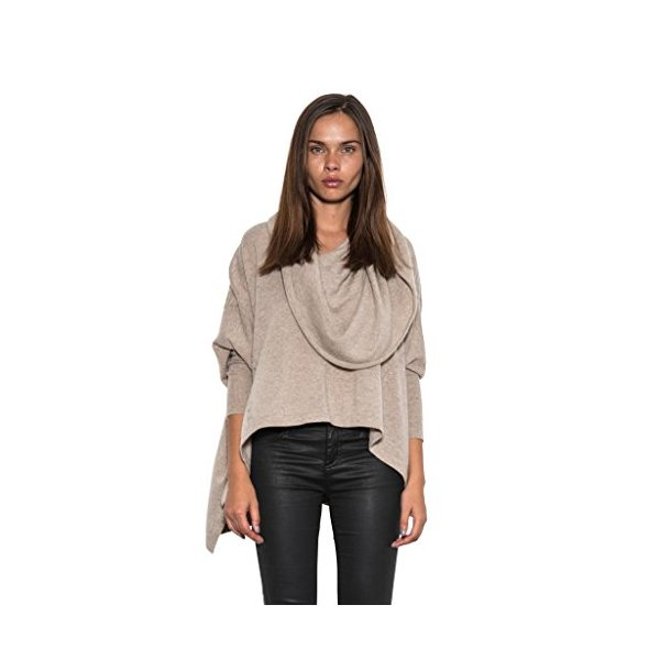 Tan Cashmere Corridor Oversized Cowl Neck Knit Poncho Sweater by One Grey Day-L