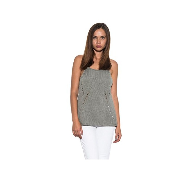Women Ryan Knit Sleeveless Cross Back Casual Sweater Tank Sage One Grey Day-M