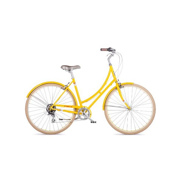 PUBLIC Bikes Women's C7 Dutch Style Step-Thru City Bike, 7-Speed, Yellow, 20-Inch/Large (2014 Model)