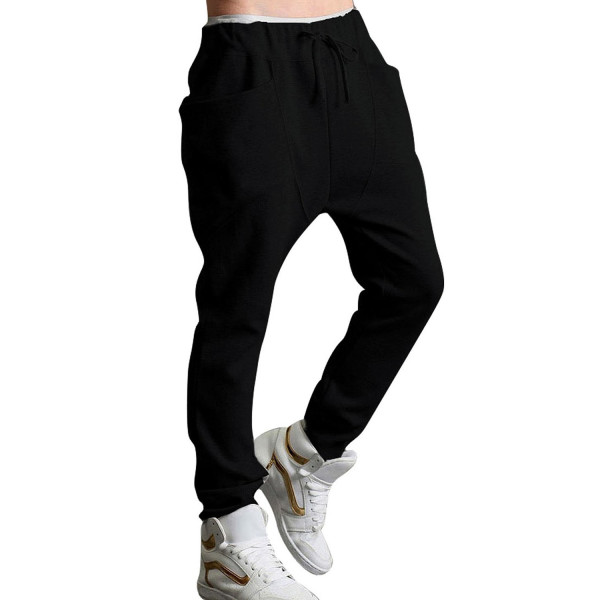 Allegra K Men's Casual Drawstring Elastic Waist Baggy Straight Trousers