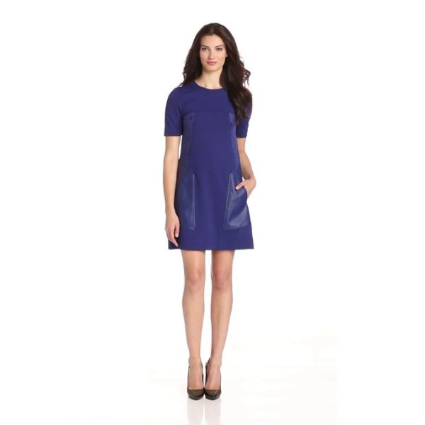BCBGMAXAZRIA Women's Chrissie Ponti and Pleather Shift Dress, Orient Blue, Small