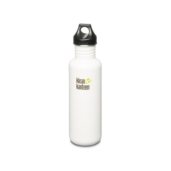 Klean Kanteen Stainless Steel Bottle with Loop Cap (Glacier White, 27-Ounce)