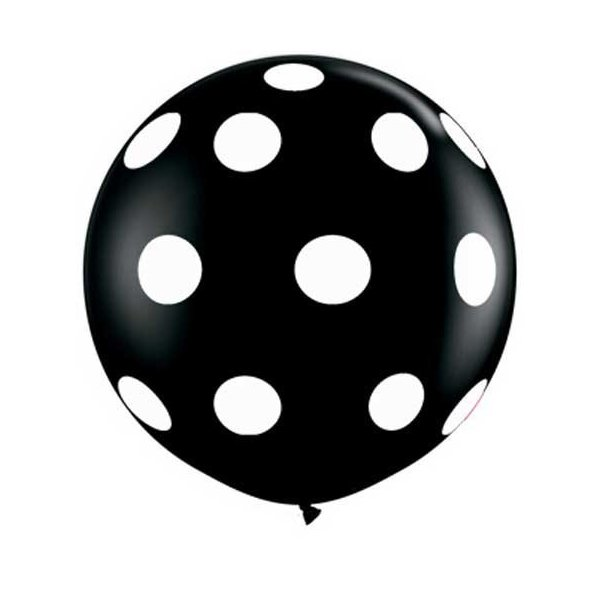 "Single Source Party Supplies - 36"" (3') Round Big Polka Dots On Onyx Black Latex Balloon"