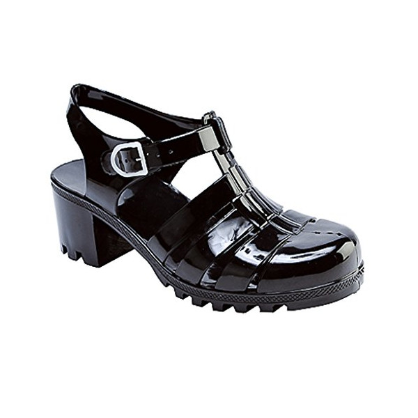 New Women Summer Retro Jelly Slingback Sandals Buckle Strappy Block Heel Shoes 8 US