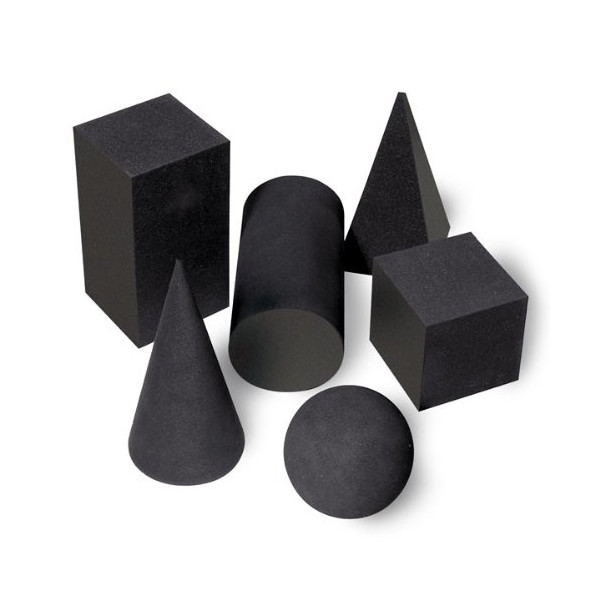 Nasco Foam Geometric Solids Set, Six-Piece, Black