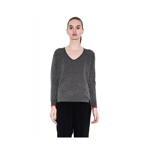 Riley Stylish Classic V-Neck Wool Pullover Long Sleeve by One Grey Day Gray-L