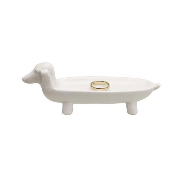 White Ceramic Dachshund Dog Shaped Novelty Jewelry Holder