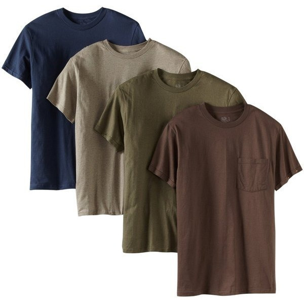 Fruit of the Loom Men's Big Super Soft 4 Pack Pocket T-Shirt, Assorted, 3X-Large