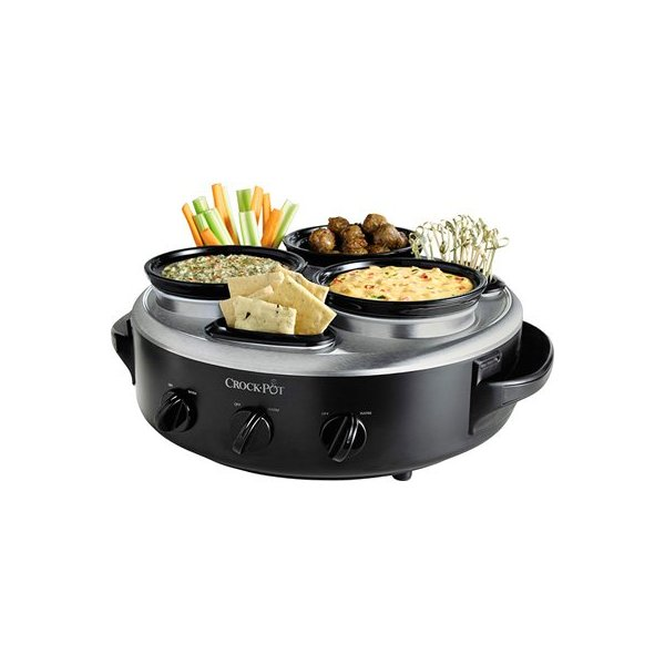 Crock-Pot Triple Dipper with Lazy Susan Food Warmer, Black, Stainless Steel, Glass lids, Travel Cover, 3 1-quart capacity warmers, Individual Controls, 3 appetizer containers