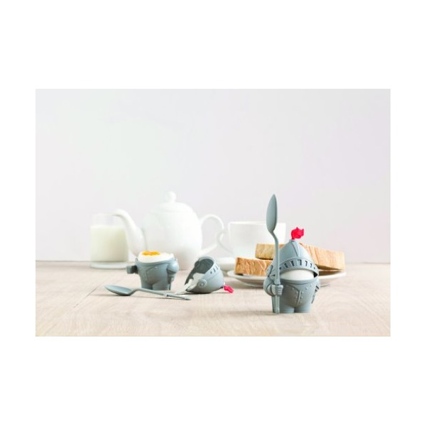 2 lot Arthur Boiled Egg Cup Holder with Eating Spoon Knight in shining armour