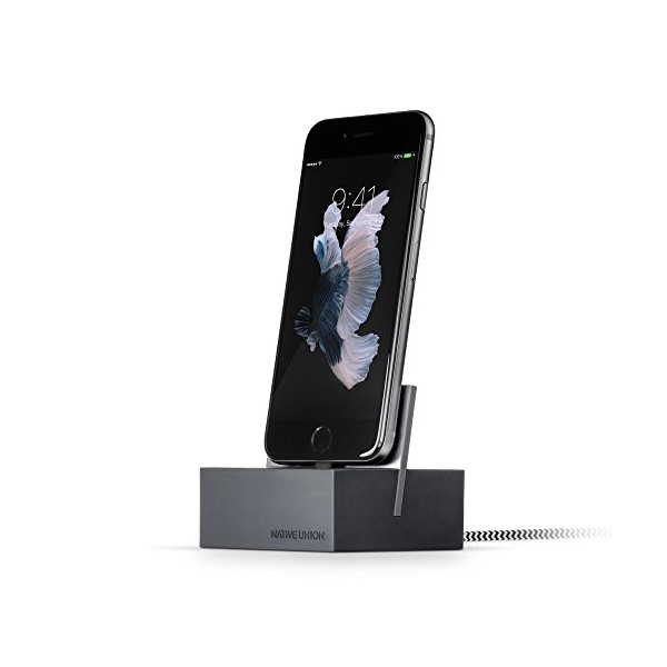 Native Union DOCK+ for iPhone or iPad - Weighted Charging Dock with Reinforced Lightning Cable - Compatible with Most Apple Lightning Devices (Slate)