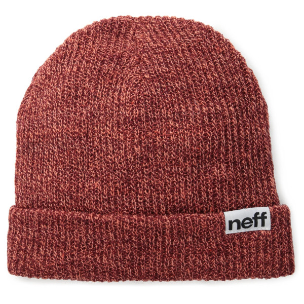 neff Men's Fold Heather Beanie, Neon Coral/Maroon, One Size