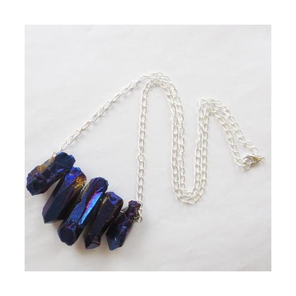 Titanium Crystal Agate Druzy Quartz Geode Stone Necklace 17.5 Inch