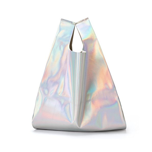 Zarapack Hologram Pu Leather Tote, Silver