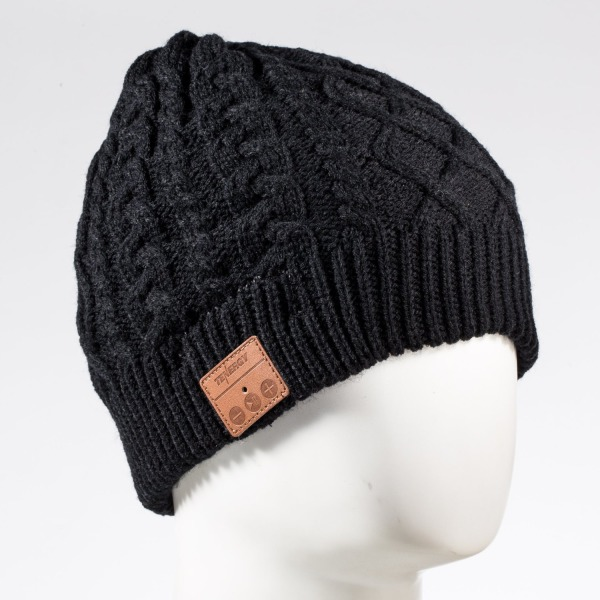 Tenergy Braided Cable Knit Wireless Hands-Free Bluetooth Beanie Hat 52414 - Black