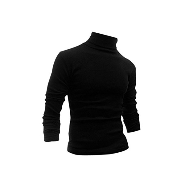 Allegra K Men Long Sleeve Turtle Neck Slim Fit Leisure Tee Shirt Black S