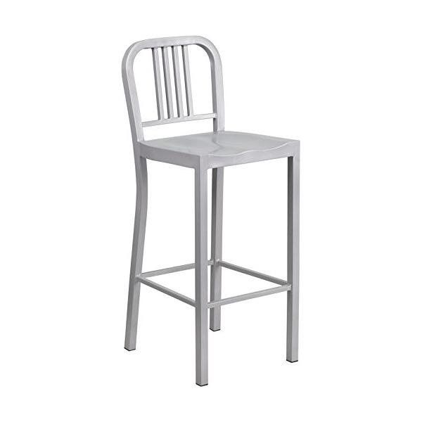 30'' High Silver Metal Indoor-Outdoor Barstool