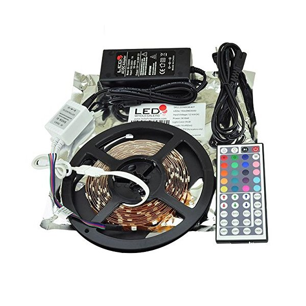 LEDwholesalers 16.4ft RGB Color Changing Kit with LED Flexible Strip, Controller with 44-button Remote and Power Supply, 2034RGB+3315+3215