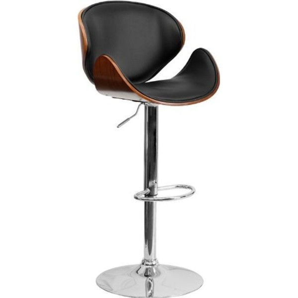 Flash Furniture Walnut Bentwood Adjustable Height Bar Stool