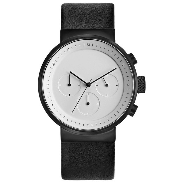 Projects Watches Kiura Chronograph Watch, White and Leather Band