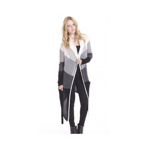 Alena Coat Ombre Striped Long Hoodie Cardigan Sweater by One Grey Day-L