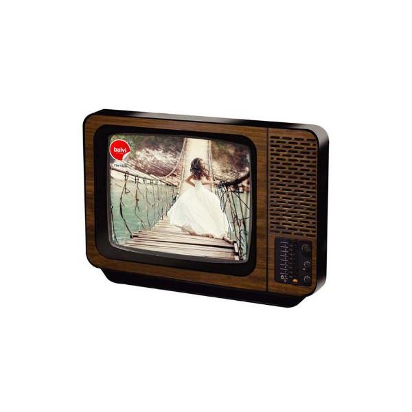Balvi Vintage Retro Tv Photovision Frame 1970s Television Picture Display (Brown)