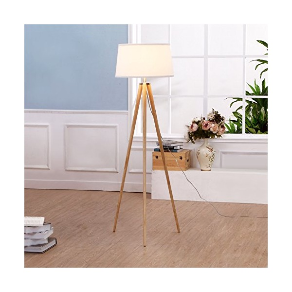 Brightech - Emma Tripod Floor Lamp - Classic Design for Contemporary or Traditional Living Rooms - Soft Ambient Lighting - Made with Natural Wood