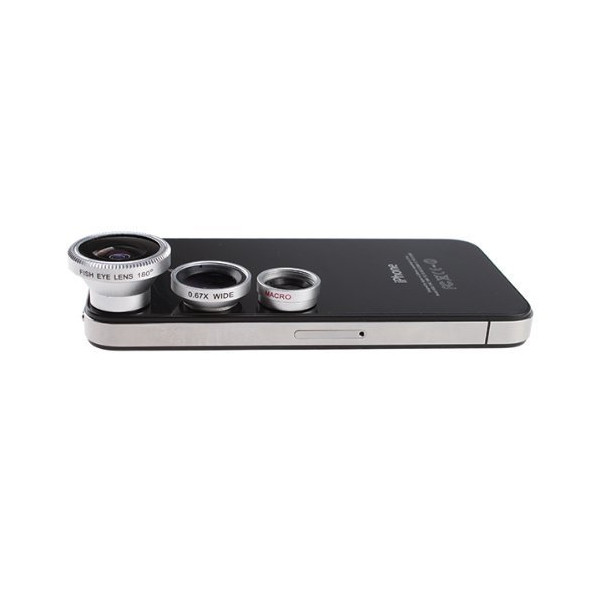 SKINA 3 in 1 Detachable LENS for Mobile Phone & Digital Camera (180 degree fish-eye lens, wide + Macro Lens)