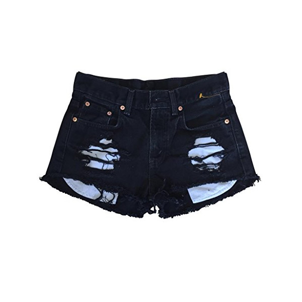 Women Low Rise Black Denim Shredded Destroyed Levi's Ripped Cut-Off Shorts-L