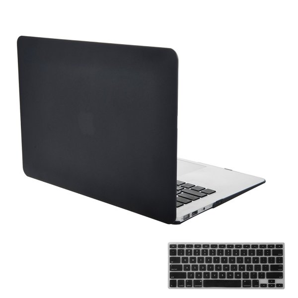 iNeseon Air 11 Case,2 in 1 [Frosted Series]Ultra Slim Rubberized Hard Case Cover and Keyboard Cover for Apple MacBook Air 11/11.6 Inch [Model:A1370 and A1465](Black)