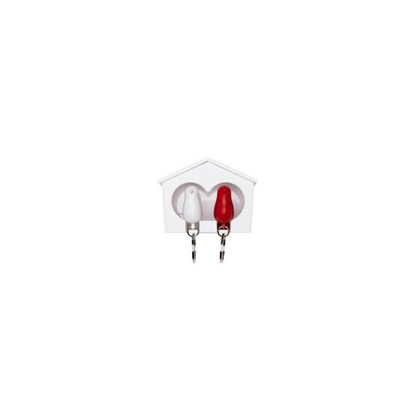 DUO Sparrow Key Ring & Whistle Birdhouse - White/red