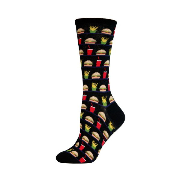 Hot Sox Women's Socks Hamburger, Fries And Drink Crew Black 1pair