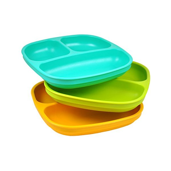 Re-Play Divided Plates (Set of 3, Green/ Orange/ Aqua)