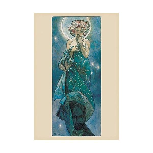 Alphonse Mucha-Moon, Art Poster Print, 24 by 36-Inch