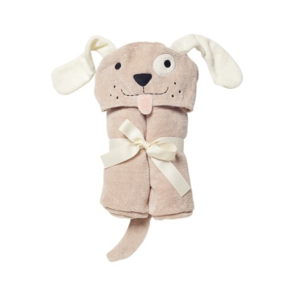 Elegant Baby Bath Time Gift Hooded Towel Wrap, Tan Puppy