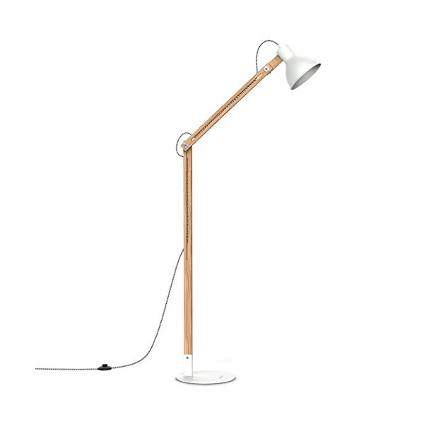 "Tomons Wood Floor Lamp, Adjustable Head Reading Light, Nature Rubber Wood, 8W Warm White LED Light, 60W E26/27 Incandescent Lamp, 57.8"" Height Suitable For Living Room, Bedroom, Study Room-FL1001"