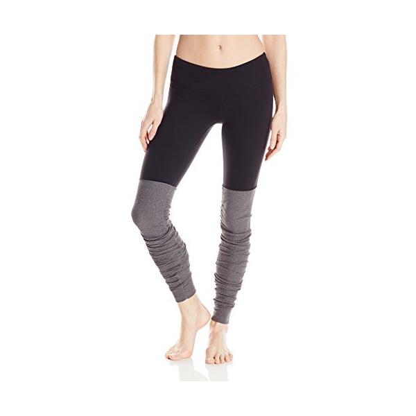 Alo Yoga Women's Goddess Ribbed Legging, Black/Stormy Heather, Small