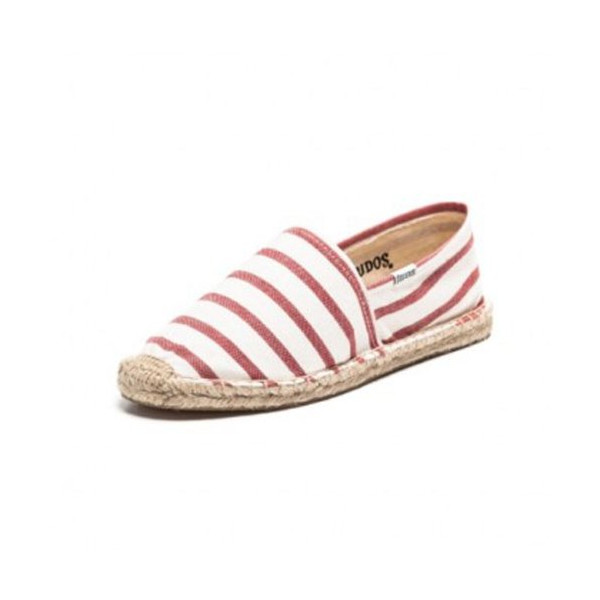 Soludos Women's Classic Stripe Espadrilles, White/Red, 39-8.5US