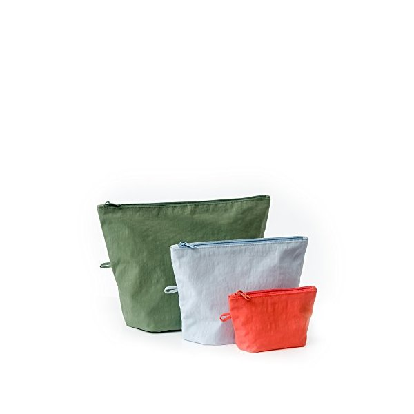 BAGGU Go Pouch Set, Expandable Nylon Zip Pouch 3 Pack for Travel and Organization, Tropical