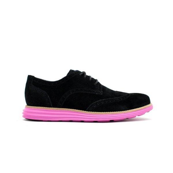 Cole Haan Lunargrand Wingtip (Black Suede/Pink)