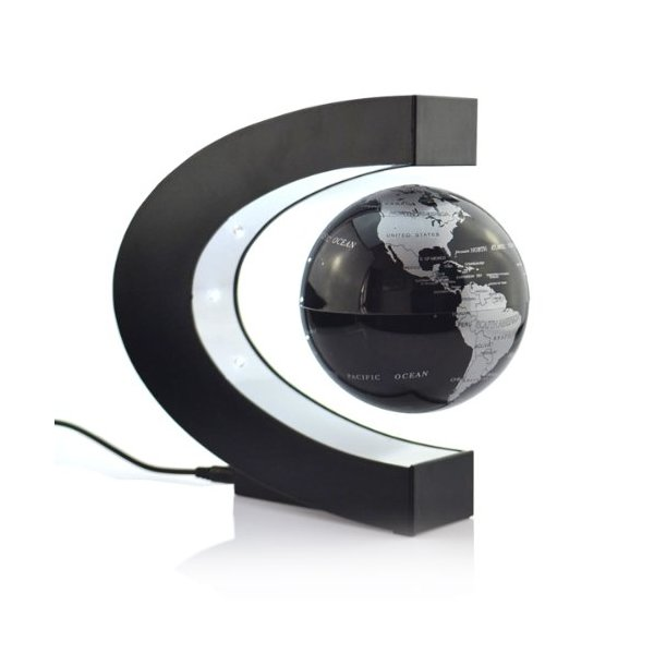 Lightahead® Levitation Floating Globe Rotating Magnetic Mysteriously Suspended in Air World Map Great Fathers day, Christmas gift (Black)