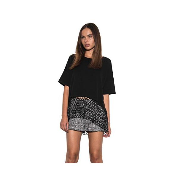 Women Payton Oversized Boxy Knit Top Crochet Lace Black Spring One Grey Day-S