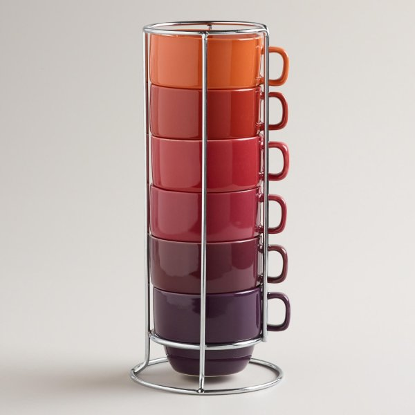 Warm Ombre Stacking Mugs, Set of 6 - World Market