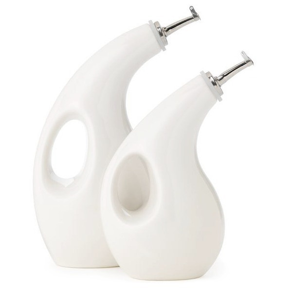 Rachael Ray Stoneware 2-Piece EVOO Oil and Vinegar Dispensing Bottle Set, White