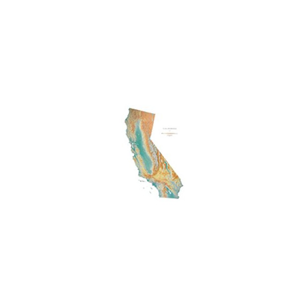 California Large Topographic Wall Map by Raven Maps, Laminated Print
