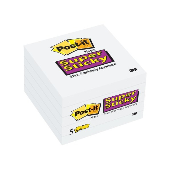 Post-it Super Sticky Notes, 3 x 3-Inches, White, 5-Pads/Pack (654-5SSW)
