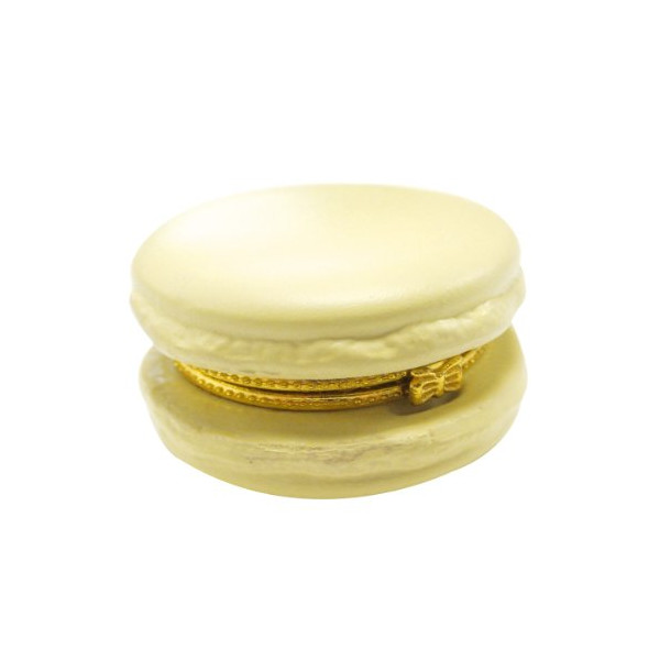 Ceramic Macaron Limoge Trinket Box (Light Yellow)